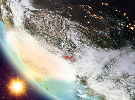 Bhutan during sunset highlighted in red on planet Earth with clouds. 3D illustration. Stock Photo