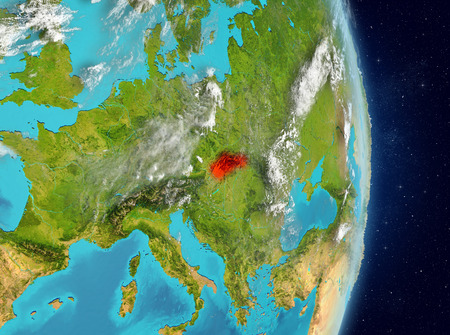 Space view of Slovakia highlighted in red on planet Earth with atmosphere. 3D illustration.