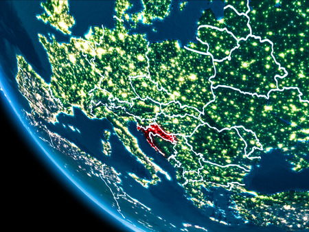 Map of Croatia in red as seen from space on planet Earth at night with white borderlines and city lights. 3D illustration.