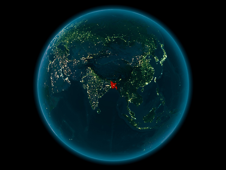 Night above Bangladesh highlighted in red on model of planet Earth in space. 3D illustration.