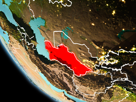 Turkmenistan from orbit of planet Earth at night with highly detailed surface textures with visible border lines and city lights. 3D illustration. Stock Photo