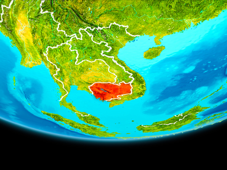 Cambodia from orbit of planet Earth with visible borderlines. 3D illustration. Stock Photo