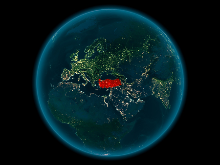 Night above Turkey highlighted in red on model of planet Earth in space. 3D illustration.