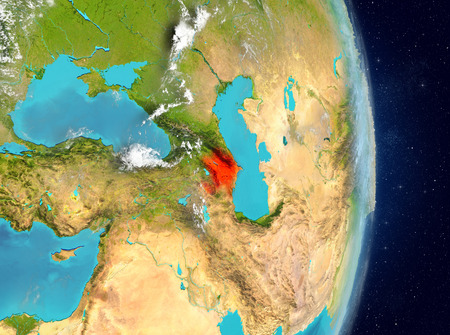 Space view of Azerbaijan highlighted in red on planet Earth with atmosphere. 3D illustration.