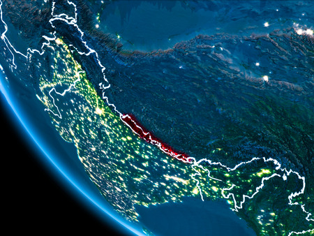 Map of Nepal in red as seen from space on planet Earth at night with white borderlines and city lights. 3D illustration. Stock Photo