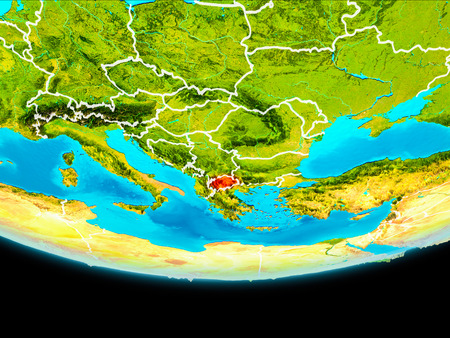 Macedonia from orbit of planet Earth with visible borderlines. 3D illustration.