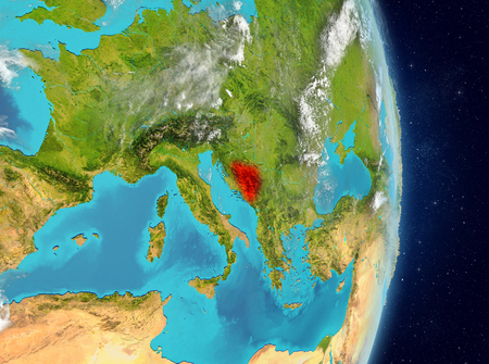 Space view of Bosnia and Herzegovina highlighted in red on planet Earth with atmosphere. 3D illustration.