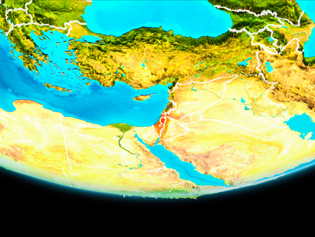 Israel from orbit of planet Earth with visible borderlines. 3D illustration. Stock Photo