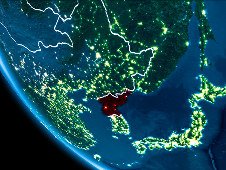 North korea as seen from earths orbit on planet earth at night map of north korea in red as seen from space on planet earth at night with gumiabroncs Image collections