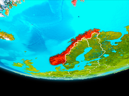 Norway from orbit of planet Earth with visible borderlines. 3D illustration.