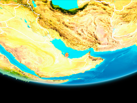 Qatar from orbit of planet Earth with visible borderlines. 3D illustration.