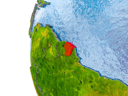French Guiana in red on globe with real land surface, visible country borders and water in place of ocean. 3D illustration.