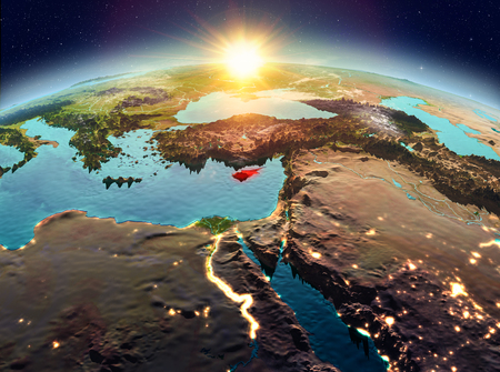 Satellite view of Cyprus highlighted in red on planet Earth with clouds during sunrise. 3D illustration. Stok Fotoğraf