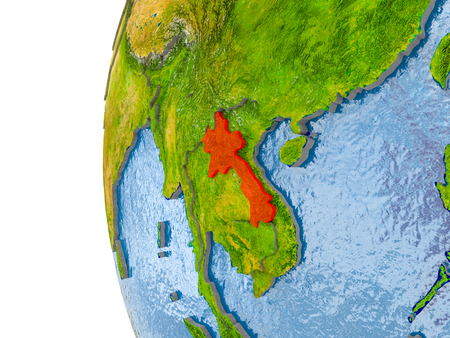 Laos in red on globe with real land surface, visible country borders and water in place of ocean. 3D illustration. Stock Photo