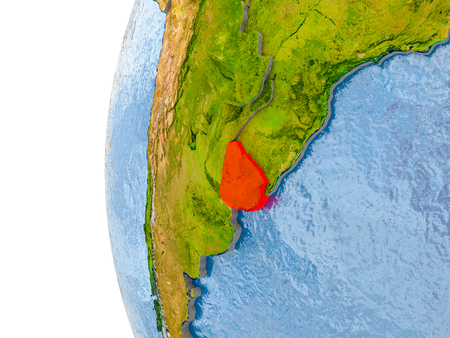 Uruguay in red on globe with real land surface, visible country borders and water in place of ocean. 3D illustration. Stock Photo