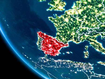 La vista de satlite de espaa destac en rojo en el planeta tierra map of spain in red as seen from space on planet earth at night with white gumiabroncs Images
