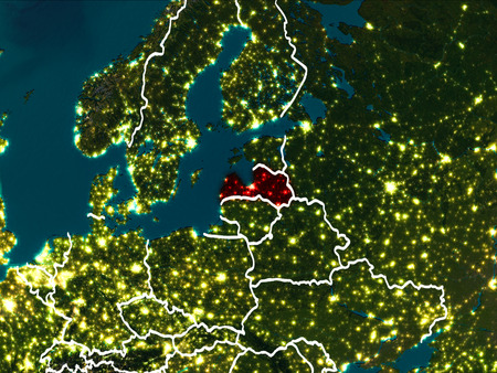 Latvia highlighted in red from Earth's orbit at night with visible country borders. 3D illustration. Stok Fotoğraf