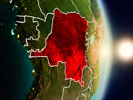 Democratic Republic of Congo during sunrise highlighted in red on planet Earth with visible country borders. 3D illustration.