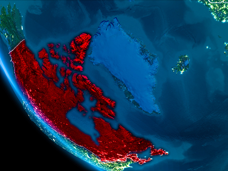 Map of Canada in red as seen from space on planet Earth at night with white borderlines and city lights. 3D illustration. Stock Photo