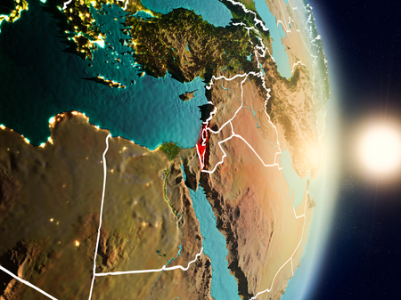 Israel during sunrise highlighted in red on planet Earth with visible country borders. 3D illustration. Stock Photo