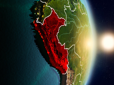 Peru during sunrise highlighted in red on planet Earth with visible country borders. 3D illustration. Stock Photo