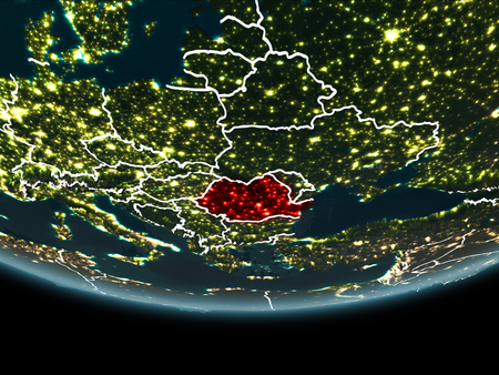 Romania highlighted in red on planet Earth at night with visible borders and city lights. 3D illustration.