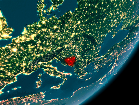 Night view of Bosnia and Herzegovina highlighted in red on planet Earth with atmosphere. 3D illustration. Stock Photo