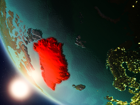 Satellite view of Greenland highlighted in red on planet Earth with visible country borders during sunset. 3D illustration. Stock Photo