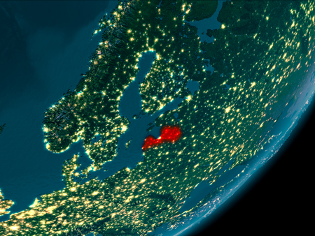 Night view of Latvia highlighted in red on planet Earth with atmosphere. 3D illustration.