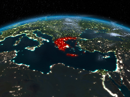 Night map of greece as seen from space on planet earth 3d satellite night view of greece highlighted in red on planet earth with clouds 3d illustration gumiabroncs Image collections