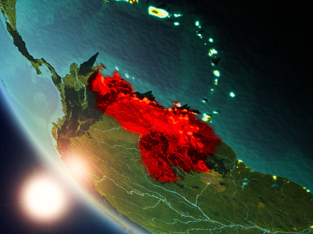 Satellite view of Venezuela highlighted in red on planet Earth with visible country borders during sunset. 3D illustration.
