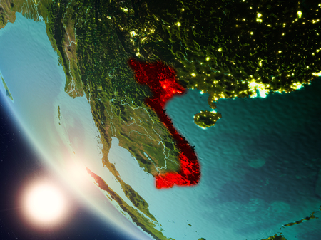 Satellite view of Vietnam highlighted in red on planet Earth with visible country borders during sunset. 3D illustration.