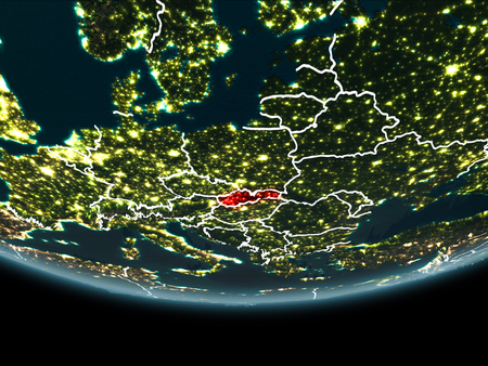 Slovakia highlighted in red on planet Earth at night with visible borders and city lights. 3D illustration.