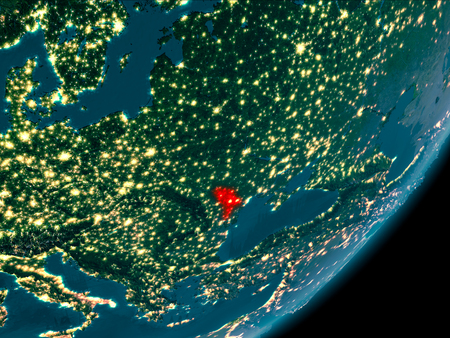 Night view of Moldova highlighted in red on planet Earth with atmosphere. 3D illustration.