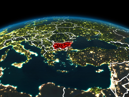 Space orbit view of Bulgaria highlighted in red on planet Earth at night with visible country borders and city lights. 3D illustration.