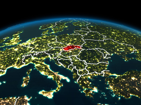 Space orbit view of Slovakia highlighted in red on planet Earth at night with visible country borders and city lights. 3D illustration.