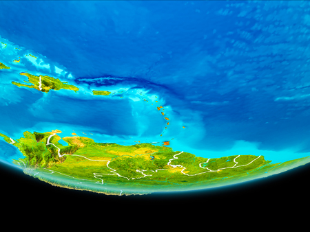 Caribbean from orbit of planet Earth with visible borderlines. 3D illustration.