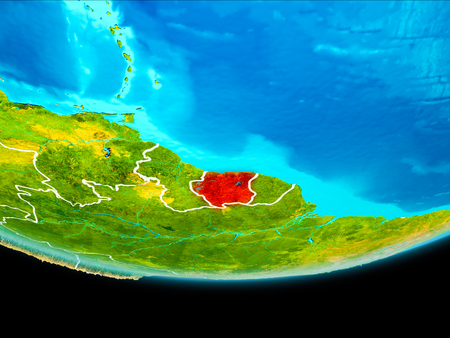 Suriname from orbit of planet Earth with visible borderlines. 3D illustration.