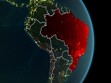 Map of brazil in red as seen from space on planet earth at night illustration map of brazil in red as seen from space on planet earth at night with white borderlines and city lights 3d illustration gumiabroncs Images