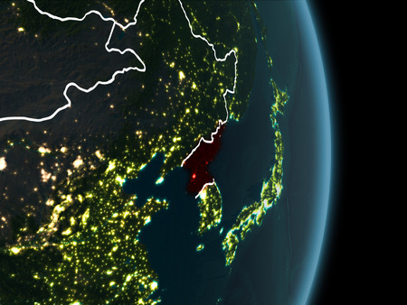 Map of north korea in red as seen from space on planet earth stock illustration map of north korea in red as seen from space on planet earth at night with white borderlines and city lights 3d illustration gumiabroncs Choice Image