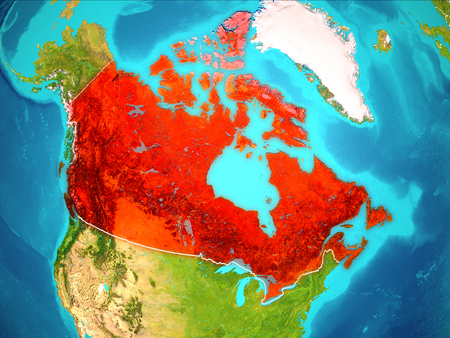 Canada highlighted in red from Earth's orbit. 3D illustration.