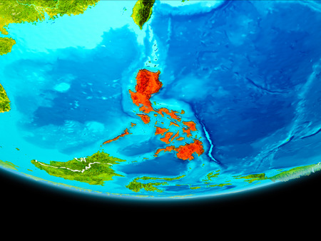 Philippines from orbit of planet Earth with visible borderlines. 3D illustration. Stock Photo