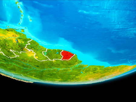 French Guiana from orbit of planet Earth with visible borderlines. 3D illustration. Stockfoto