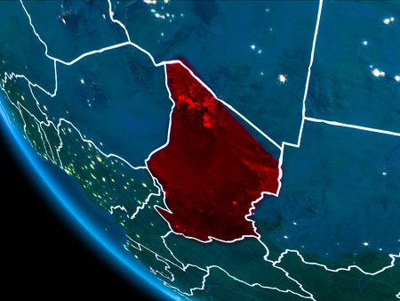 Map of Chad in red as seen from space on planet Earth at night with white borderlines and city lights. 3D illustration.