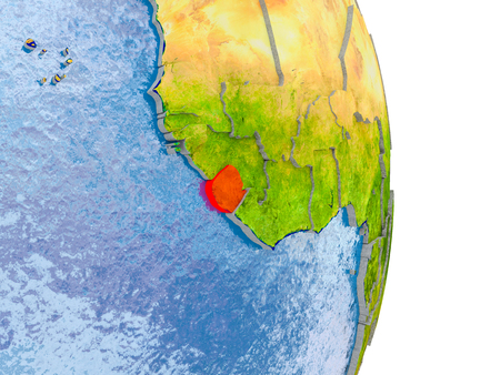 Sierra Leone in red on model of globe with embossed countries and realistic water. 3D illustration.