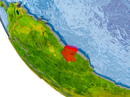 Map of Suriname in red on globe with real planet surface, embossed countries with visible country borders and water in the oceans. 3D illustration.