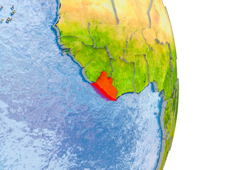 Liberia in red on model of globe with embossed countries and realistic water. 3D illustration. Stock Photo