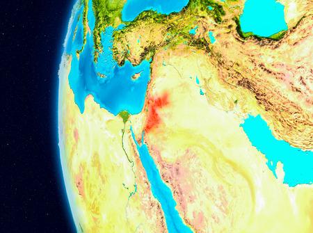 Illustration of Jordan as seen from Earth's orbit on planet Earth. 3D illustration. Stockfoto