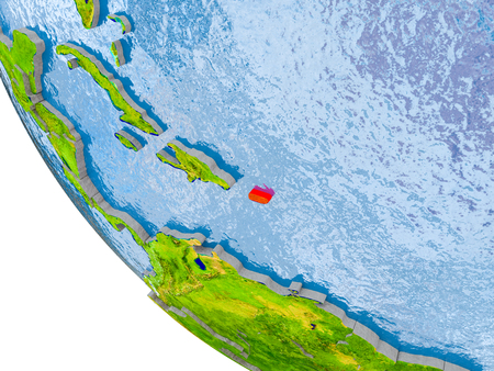 Map of Puerto Rico in red on globe with real planet surface, embossed countries with visible country borders and water in the oceans. 3D illustration.