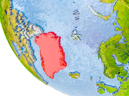 Map of Greenland in red on globe with real planet surface, embossed countries with visible country borders and water in the oceans. 3D illustration. Stock Photo